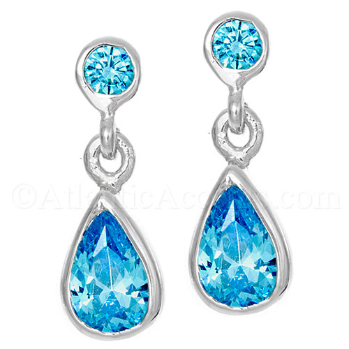 Sterling Silver Ocean Wave Teardrop Post Earrings with Ocean Blue CZ