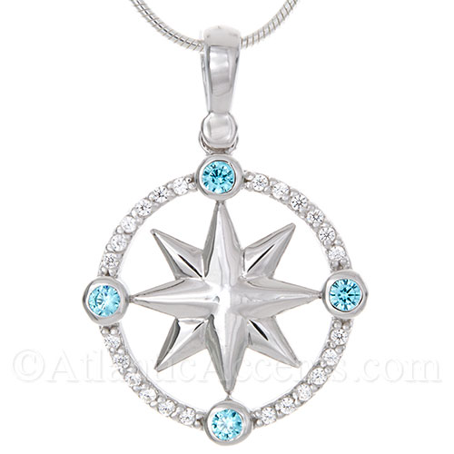 Sterling Silver Compass Rose Necklace Pendant with Blue and White CZ