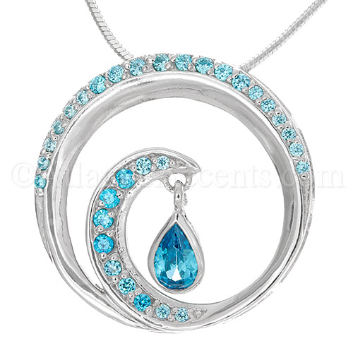 Sterling Silver Wave Pendant with Blue Crystal Inlay and Teardrop