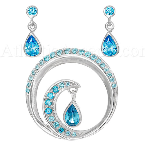 Sterling Silver Wave Necklace and Earrings Set with Blue Crystals - Click Image to Close