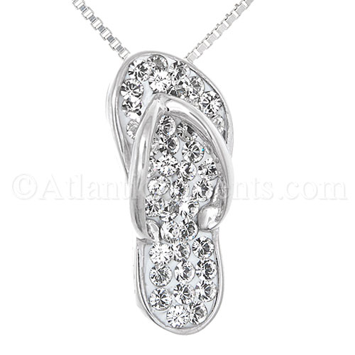 Sterling Silver Flip Flop Pendant with Clear Swarovski Crystals