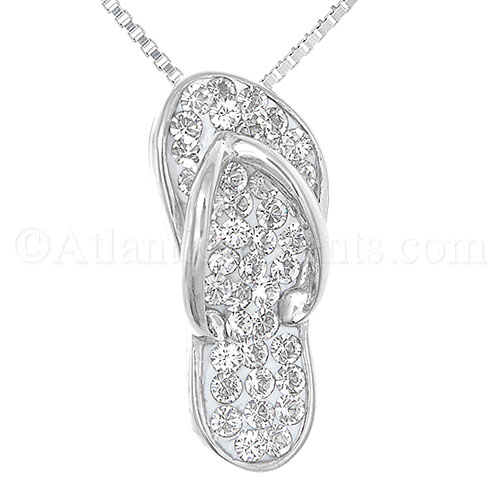 Sterling Silver Flip Flop Necklace Pendant W/ Clear Swarovski Crystals