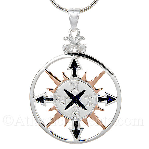 Sterling Silver Compass Rose Pendant with Rose Gold and Black Accents