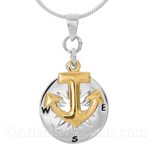 Sterling Silver Compass Rose with Gold Anchor Necklace Pendant