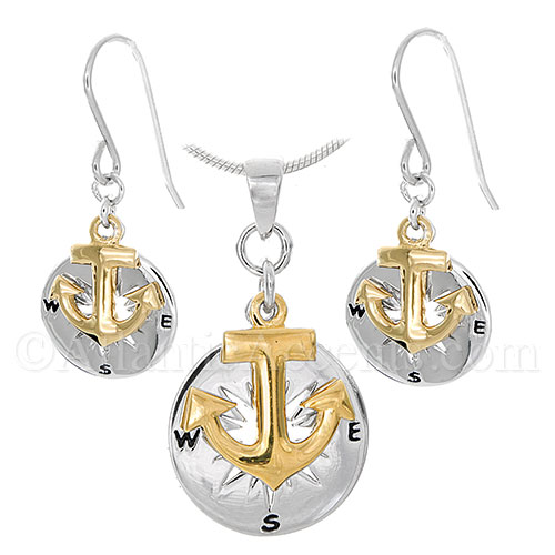 Sterling Silver Compass Rose Gold Anchor Necklace and Earrings Set