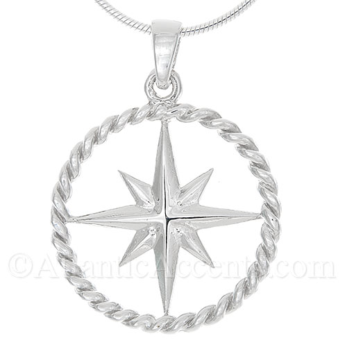 Sterling Silver Compass Rose Necklace Pendant with Rope Outline