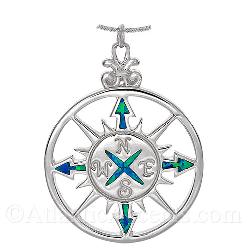 Sterling Silver Compass Rose Necklace Pendant with Opal Inlay