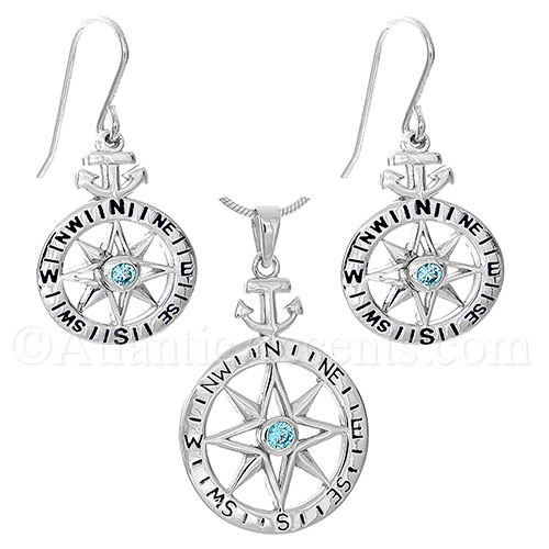 12495 sterling silver compass rose with anchor necklace and sterling silver compass rose with anchor necklace and earrings set aloadofball Choice Image