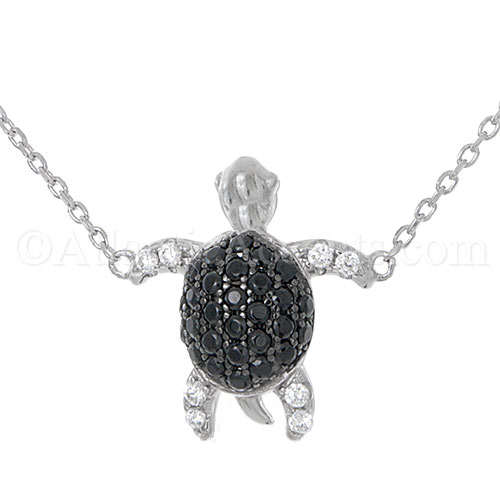 Silver Sea Turtle Necklace with Black & Clear CZ Inlay, Adjusts to 18""