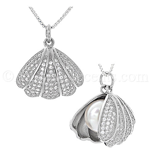 Sterling Silver Clear CZ Clam Shell with Freshwater Pearl Pendant