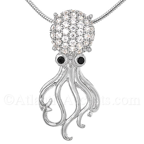 Sterling Silver Octopus Necklace Pendant with Crystal Head