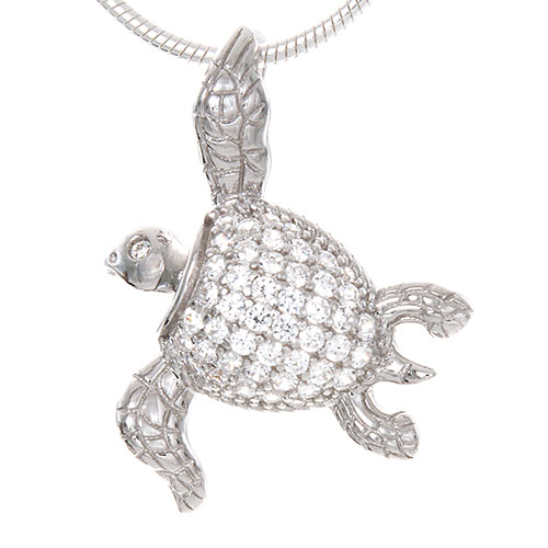 Sterling Silver Sea Turtle Necklace Pendant with Clear CZ Inlay