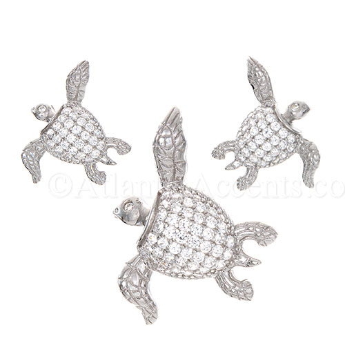 Sterling Silver Sea Turtle Necklace & Earrings Set with Clear CZ Inlay