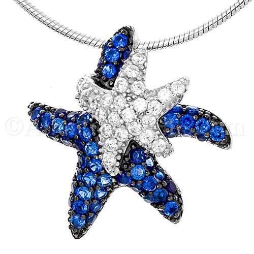Sterling Silver Double Starfish Pendant with Blue & White Crystals
