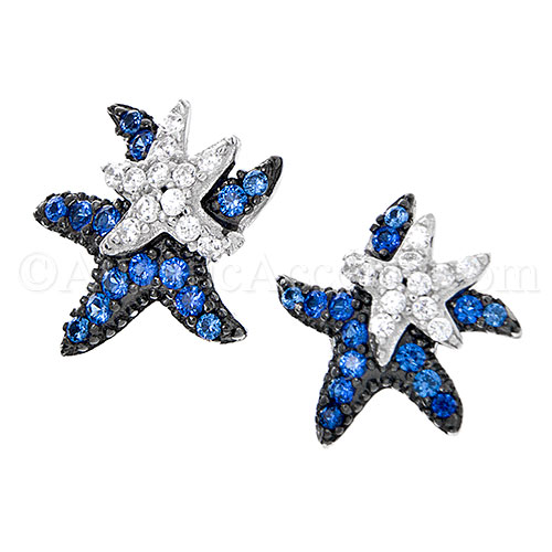 Sterling Silver Starfish Post Earrings with Blue & White CZ Inlay