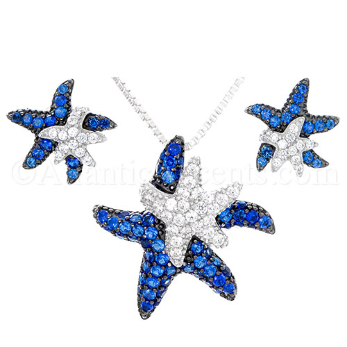 Sterling Silver Blue & White Double Starfish Pendant & Earrings Set