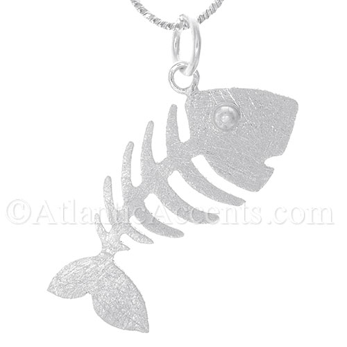 Sterling Silver Fish Bone Necklace Pendant