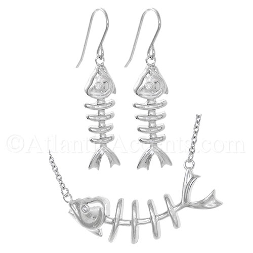 Sterling Silver Fishbone Necklace with Clear CZ Eye & Earrings Set