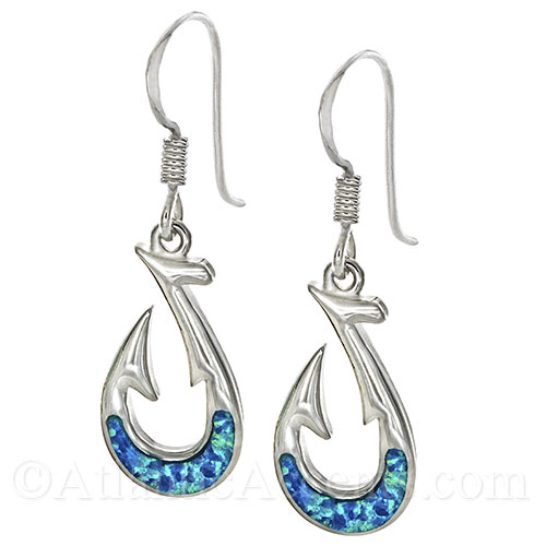 Sterling Silver Fish Hook Dangle Earrings with Opal Inlay