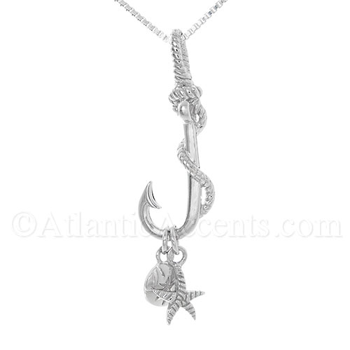 Sterling Silver Fish Hook with Starfish and Sand Dollar Pendant