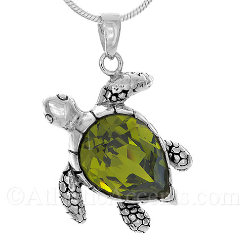 6495 sterling silver sea turtle pendant with green swarovski sterling silver sea turtle pendant with green swarovski crystal body mozeypictures Images
