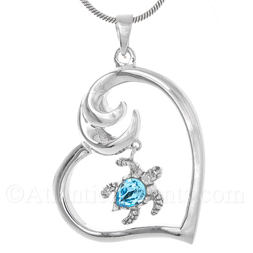 Sterling Silver Sea Turtle Dangle Pendant - Aqua Swarovski Crystal
