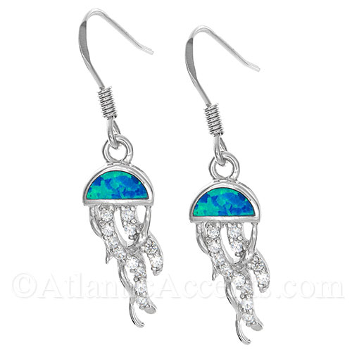 Sterling Silver Jellyfish Earrings with Blue Opal Inlay and Clear CZ