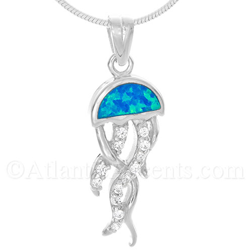 Sterling Silver Jelly Fish Pendant with Blue Opal Inlay and Clear CZ
