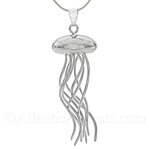 Sterling Silver Jelly Fish Necklace Pendant with Moving Tentacles