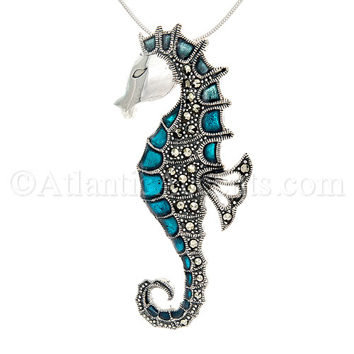 Sterling Silver Large Colorful Enamel Sea Horse Pendant with Crystals