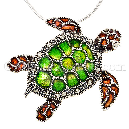 Sterling Silver Sea Turtle Necklace Pendant with Multicolor Enamel