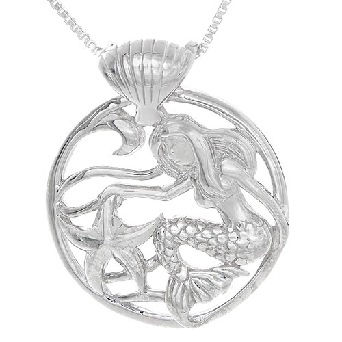 Sterling Silver Mermaid Under The Ocean Scene Necklace Pendant