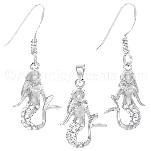 Sterling Silver Mermaid Pendant Necklace & Earrings Set with Clear CZs