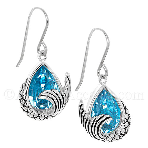 Sterling Silver Mermaid Tail Dangle Earrings - Blue Swarovski Crystal
