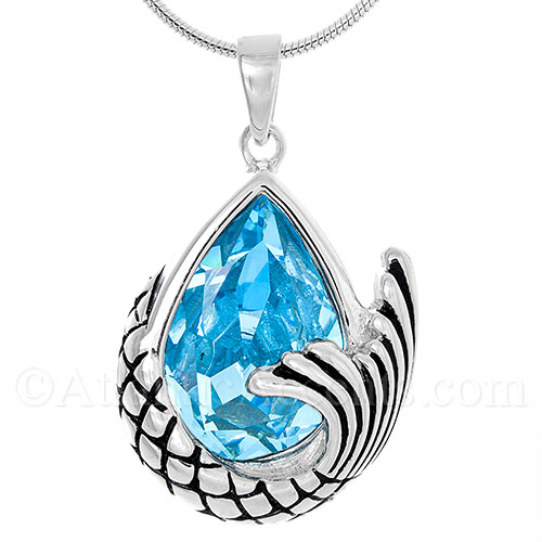 Sterling Silver Mermaid Tail Pendant with Ocean Blue Swarovski Crystal