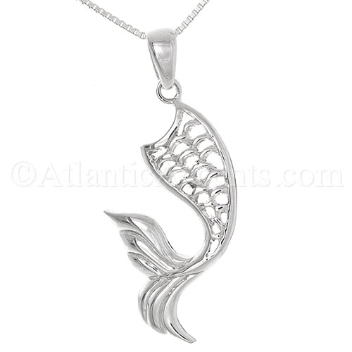 Sterling Silver Mermaid Tail Necklace Pendant