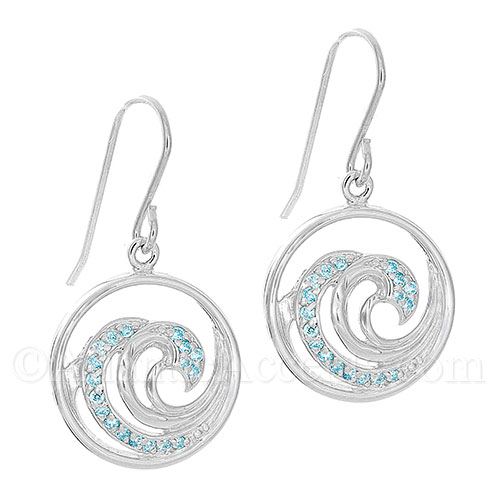 Sterling Silver Multi Wave Dangle Earrings with Blue CZ Crystals