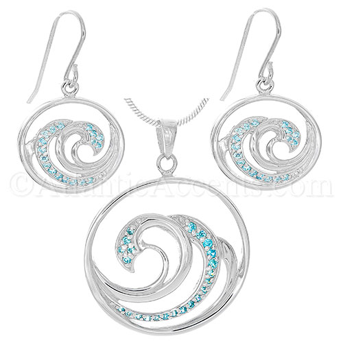 Sterling Silver Multi Wave Necklace & Earring Set with Blue CZ Crystal