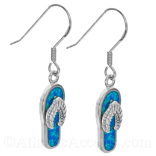 Sterling Silver Flip Flop Dangle Earrings with Opal Inlay