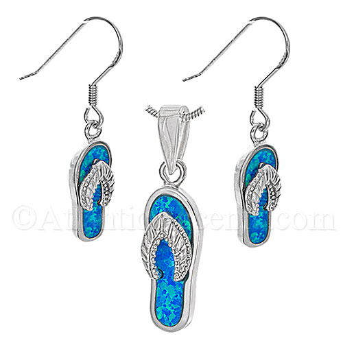 Sterling Silver Flip Flop Necklace and Earrings Set with Opal Inlay