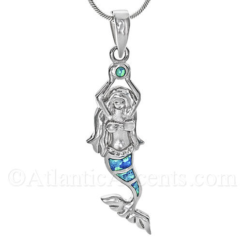 Sterling Silver Mermaid Pendant with Opal Inlay and Silver Bale