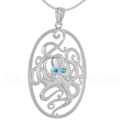 Sterling Silver Oval Octopus Necklace Pendant with Blue Crystal Eyes