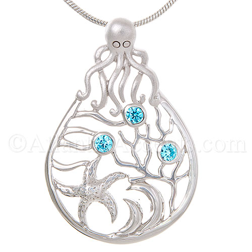 Sterling Silver Octopus Sea Scene Pendant with Blue Crystals