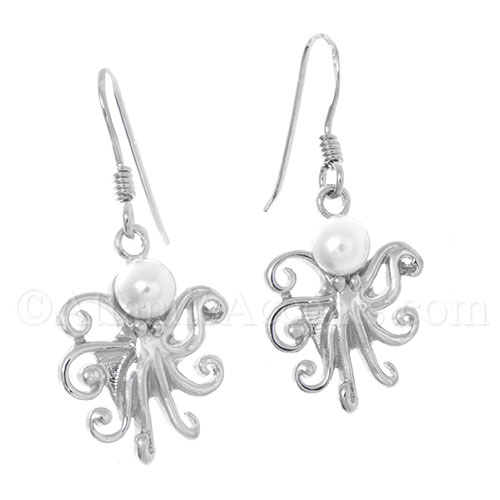 Sterling Silver Octopus Dangle Earrings with Freshwater Pearl Head