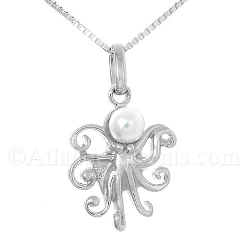 Sterling Silver Octopus Pendant with Freshwater Pearl Head