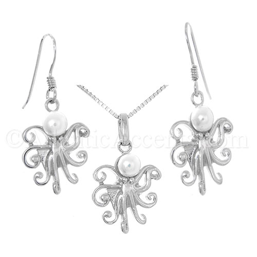 Octopus Necklace with Freshwater Pearl Head - Pendant and Earrings Set