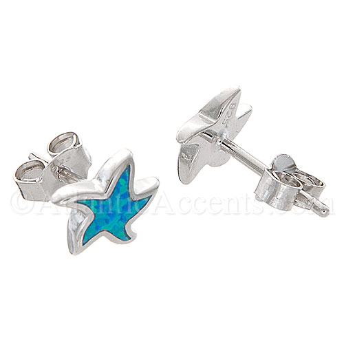 Sterling Silver Starfish Post Earrings with Blue Enamel Inlay