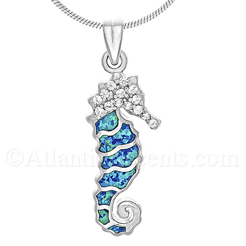 Sterling Silver Sea Horse Pendant with Opal Inlay & Clear CZ Stones