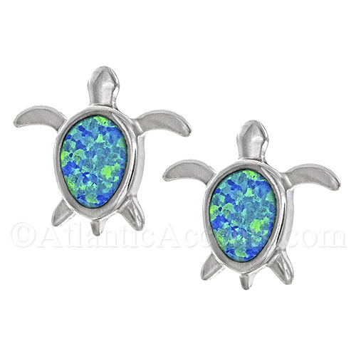 Sterling Silver Sea Turtle Post Earrings with Opal Inlay