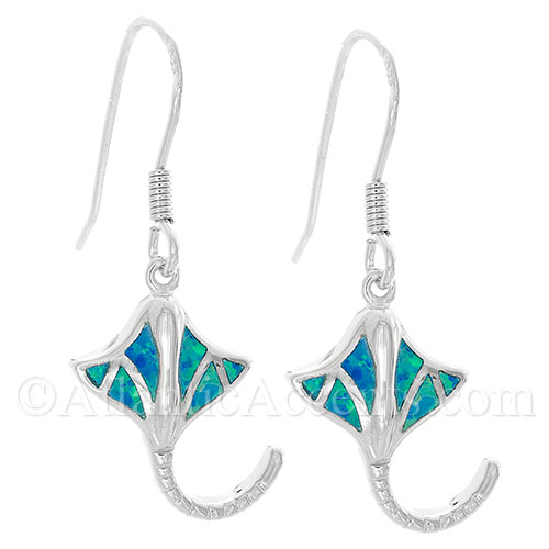 Sterling Silver Stingray Dangle Earrings With Synthetic Opal Inlay